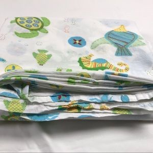 Pottery Barn Kids twin flat sheet sea creatures